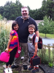 joe with kids first day of school