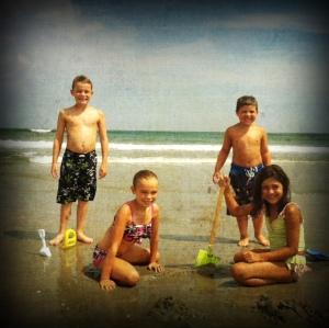 all kids on beach